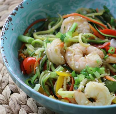 Zucchini & Shrimp Stir-Fry (Video)