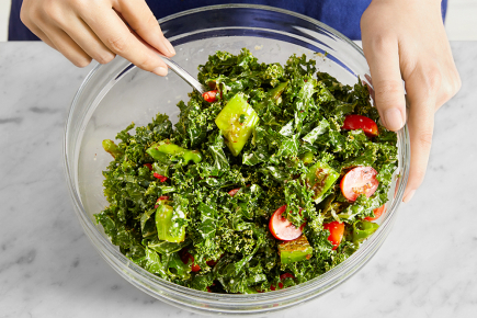 <strong>Make the salad &amp; serve your dish:</strong> To the bowl of marinated kale, add the charred shishito peppers, seasoned tomatoes, and chopped roasted peppers. Stir to combine. Serve the salad topped with the cooked beef and almonds. Enjoy!