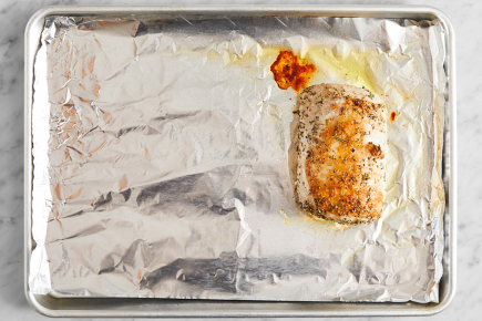 <strong>Make the rosemary oil &amp; start the pork:</strong> Preheat the oven to 450°F. F Wash and dry the fresh produce. Pick the rosemary leaves off the stems; finely chop the leaves. In a large bowl, combine the chopped rosemary leaves and 1 tablespoon of olive oil. Line a sheet pan with foil. Pat the pork dry with paper towels; season with salt (optional) and pepper. Add the seasoned pork to the bowl of rosemary oil; turn to coat. Transfer to one side of the sheet pan. Roast 20 minutes. Leaving the oven on, remove from the oven.