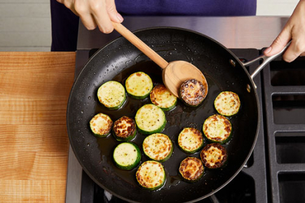 <b>Cook the Zucchini: </b>Meanwhile, in a medium pan (nonstick, if you have one), heat