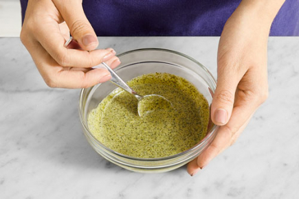 <b>Make the dressing: </b>Meanwhile, in a bowl, combine the cilantro sauce and fromage blanc.