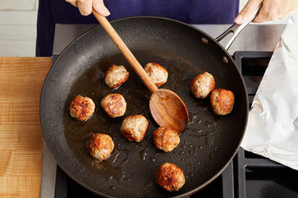 <b>Brown the meatballs: </b> <br>In the same pan, heat 1 teaspoon of olive oil on medium until hot. Add the meatballs in an even layer. Loosely cover the pan with foil and cook, without stirring, 6 minutes, or until browned. Flip the meatballs. Cover and continue to cook 6 minutes, or until browned.