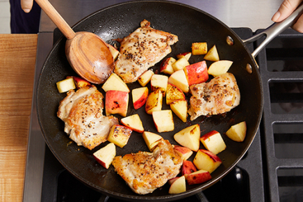 <strong>Cook the chicken &amp; apple.</strong> Meanwhile, pat the chicken dry with paper towels. Season with salt (optional) and pepper on both sides. In a medium pan (nonstick, if you have one), heat 1/2 tsp of olive oil on medium-high until hot. Add the seasoned chicken&nbsp;and cook 6 to 8 minutes, or until lightly browned. Flip the chicken and add the diced apple. Cook, stirring the apple occasionally, 6 to 8 minutes, or until the apple is softened and the chicken is cooked through (an&nbsp;instant-read thermometer should register 165°F). Leaving the apple in the pan, transfer the cooked chicken&nbsp;to a plate.&nbsp;