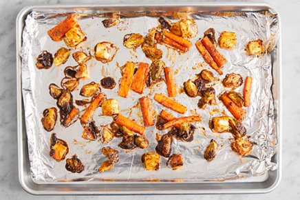 <strong>Roast the vegetables.</strong> Line a sheet pan with foil. In a small bowl, combine ground yellow mustard, smoked paprika, sweet paprika, garlic powder, and onion powder to create spice blend. To the bowl of prepared vegetables,&nbsp;add a 1/2 tsp of olive oil&nbsp;and season with salt (optional), pepper, and enough of the spice blend&nbsp;to coat (you may have extra). Toss to coat. Transfer to the prepared sheet pan and arrange in an even layer. Roast 20 to 22 minutes, or until browned and tender when pierced with a fork. Remove from the oven.