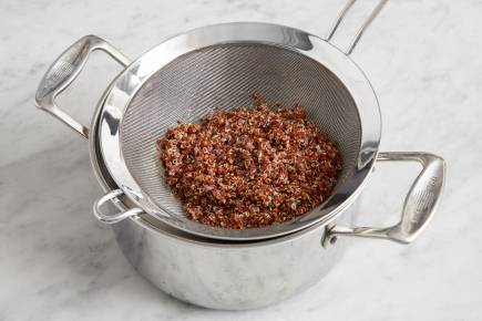 <strong>Cook the quinoa.</strong> Fill a medium pot 3/4 of the way up with water; cover and heat to boiling on high. Once boiling, add the quinoa and cook, uncovered, 14 to 16 minutes, or until tender. Drain thoroughly.