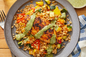 Smoky Chicken & Creamy Cilantro Sauce with Sweet Pepper & Zucchini Farro