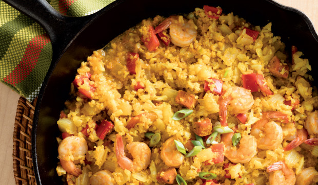 Shrimp Paella with Cauliflower Rice