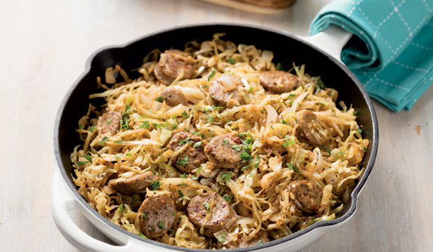 Budget-Friendly Chicken Sausage and Cabbage Skillet