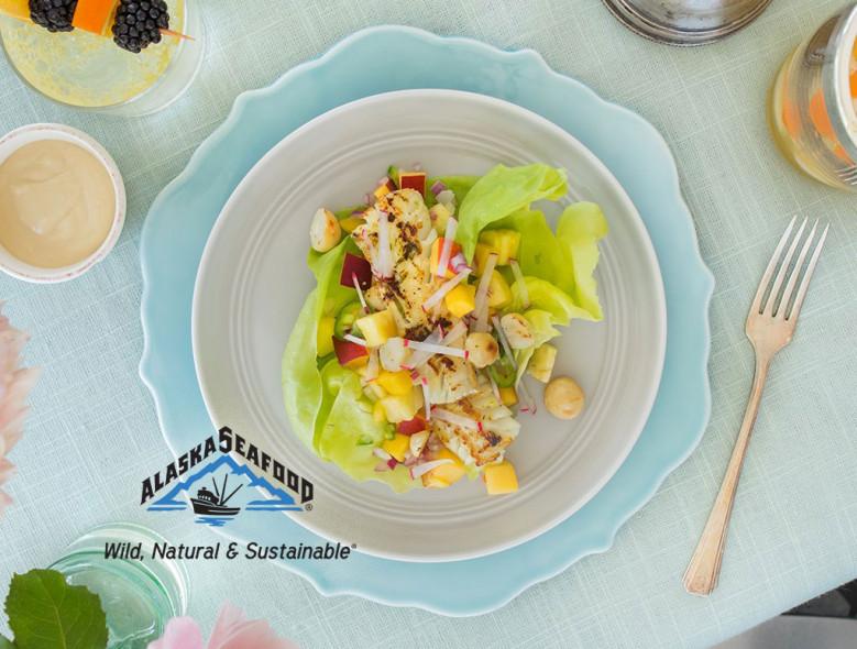 Citrus Macadamia Alaska Pollock Lettuce Wraps
