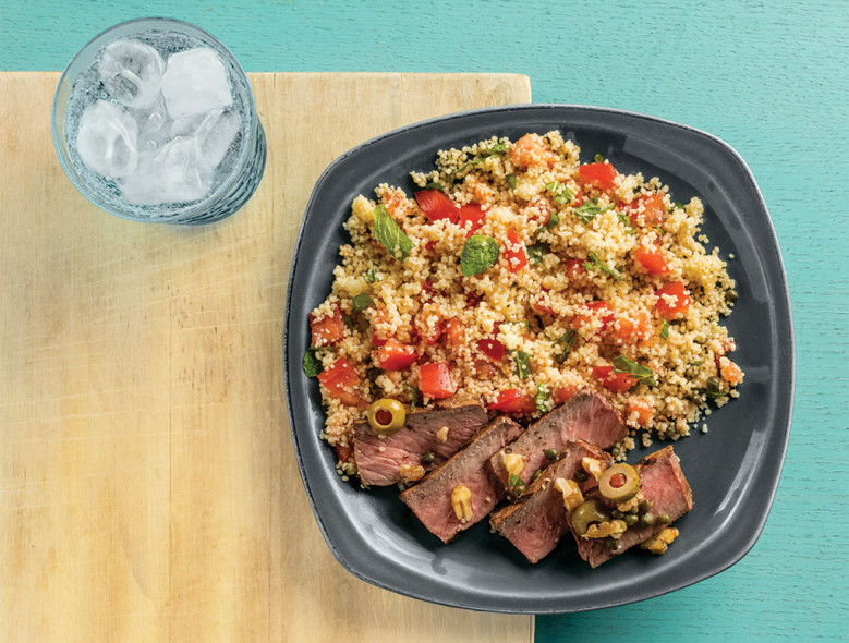 Mediterranean Steak with Minted Couscous