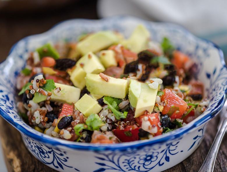 Instant Pot Wheat Berry, Black Bean, and Avocado Salad