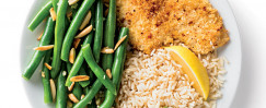 Parmesan Lemon Crusted Flounder with Green Beans Amandine