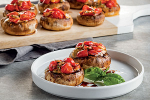 Bruschetta-Stuffed Mushrooms