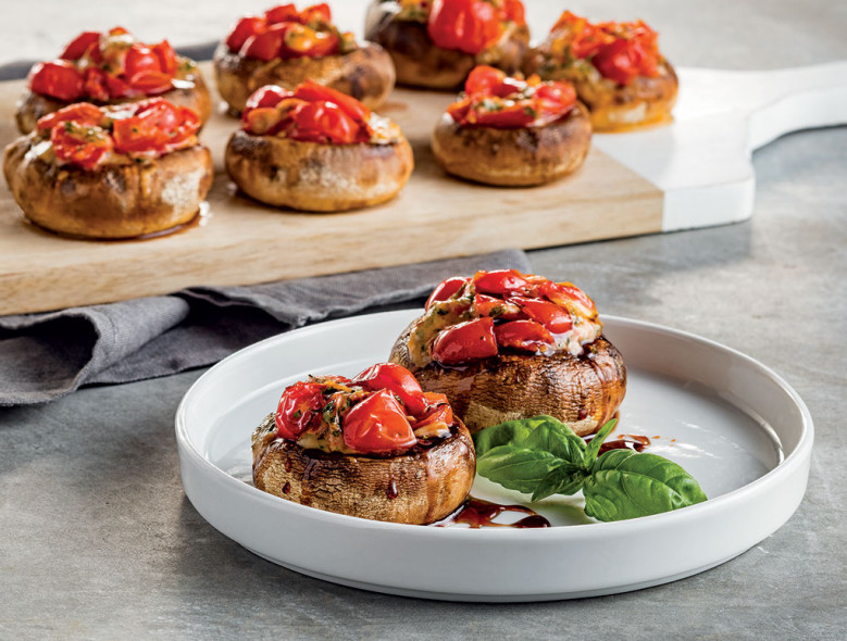 Bruschetta-Stuffed Mushrooms