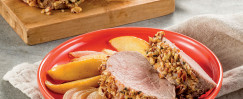 Pecan-Crusted Pork Tenderloin with Apples and Onions