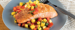 Salmon with Mango and Tomato Salsa