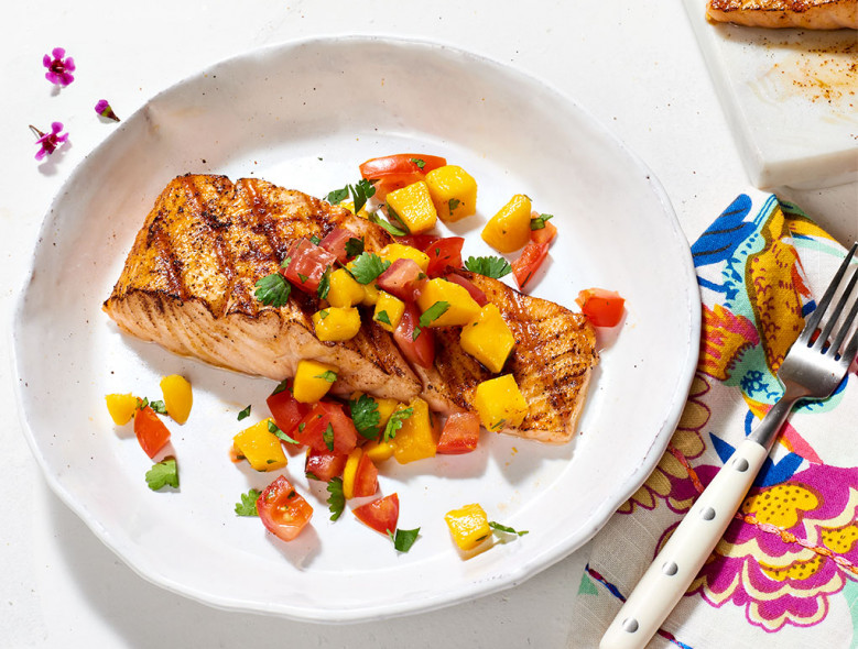 Grilled Salmon with Mango and Tomato Salsa