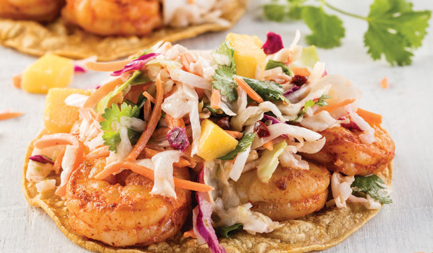 Smoky Shrimp Tostadas with Chipotle Mango Slaw