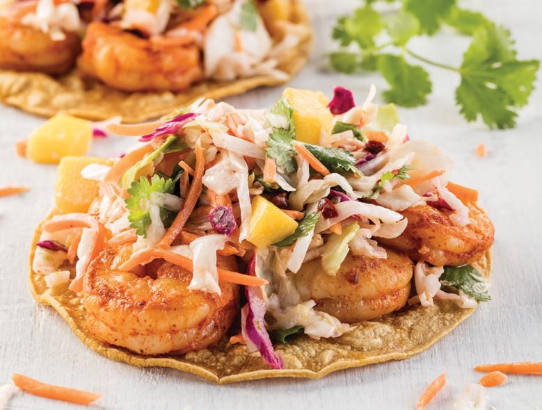 Smoky Shrimp Tostadas with Chipotle Mango Slaw