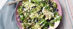 Broccoli and Spinach Salad with Blueberries and Buttermilk Dressing