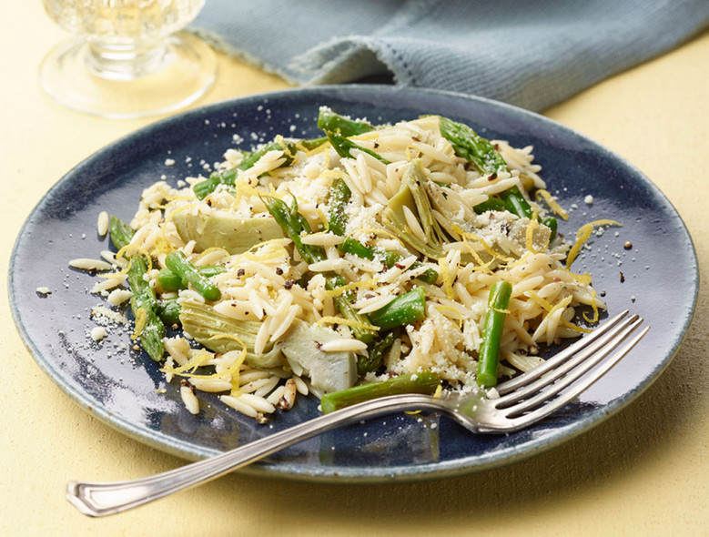 Orzo with Lemon, Artichokes, and Asparagus