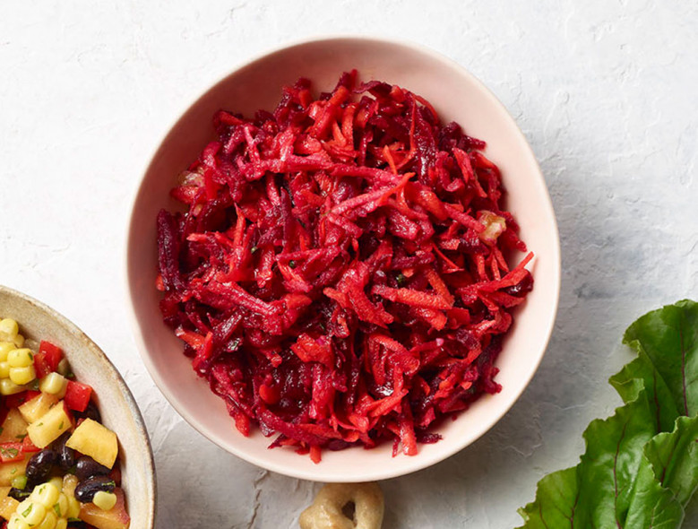 Apple, Beet, and Carrot Slaw with blood Orange Vinaigrette
