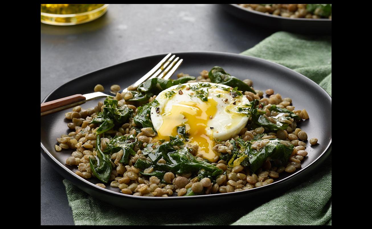 Instant Pot Lentils and Poached Eggs