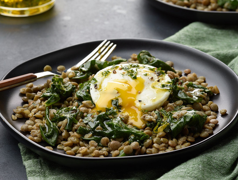 Instant Pot Lentils and Poached Eggs
