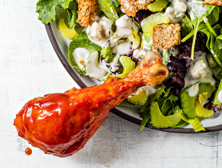 Buffalo Chicken Legs with Blue Cheese Salad