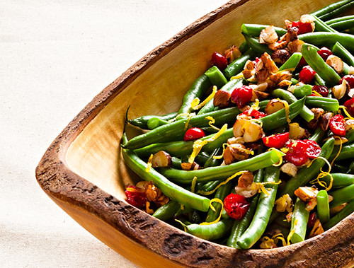 Thanksgiving Green Beans with Cranberries and Hazelnuts