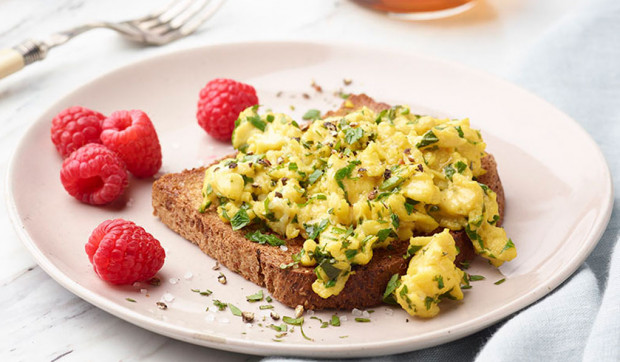 Herbed Soft Scrambled Eggs on Toast