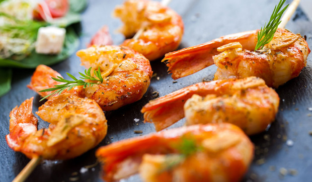 Citrus Grilled Shrimp with Spring Greens