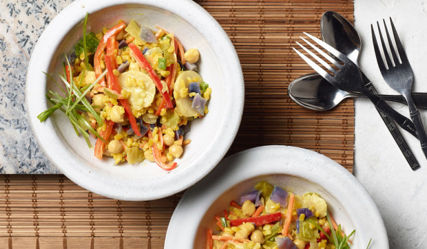 Instant Pot Coconut Curry Vegetable Rice Bowls