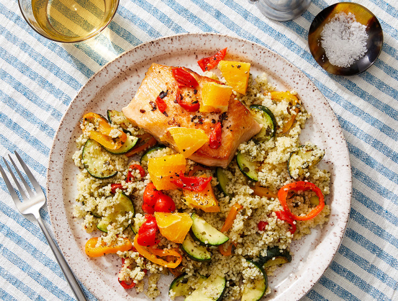 Spicy Salmon & Orange Relish with Salsa Verde Couscous