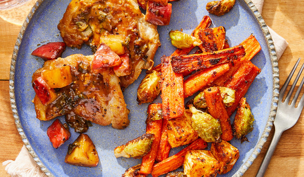 Chicken & Apple-Sage Pan Sauce with Roasted Brussels Sprouts, Carrots & Turnip
