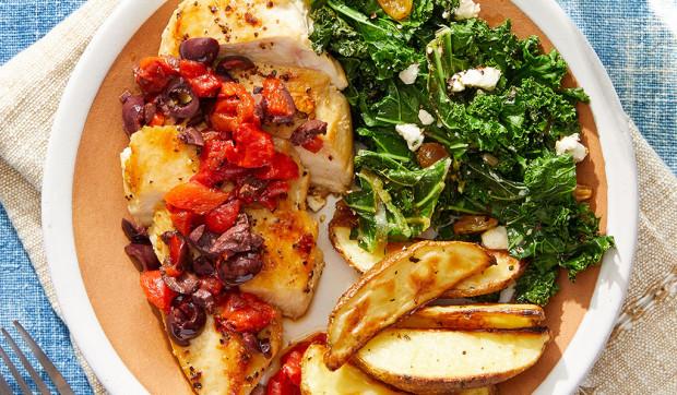 Greek Chicken & Potatoes with Sautéed Kale, Raisins & Feta Cheese