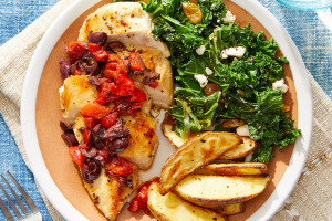 Greek Chicken & Potatoes with Sautéed Kale, Raisins & Feta Cheese