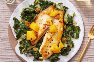 Orange Glazed Tilapia with Cilantro Kale & Collard Greens
