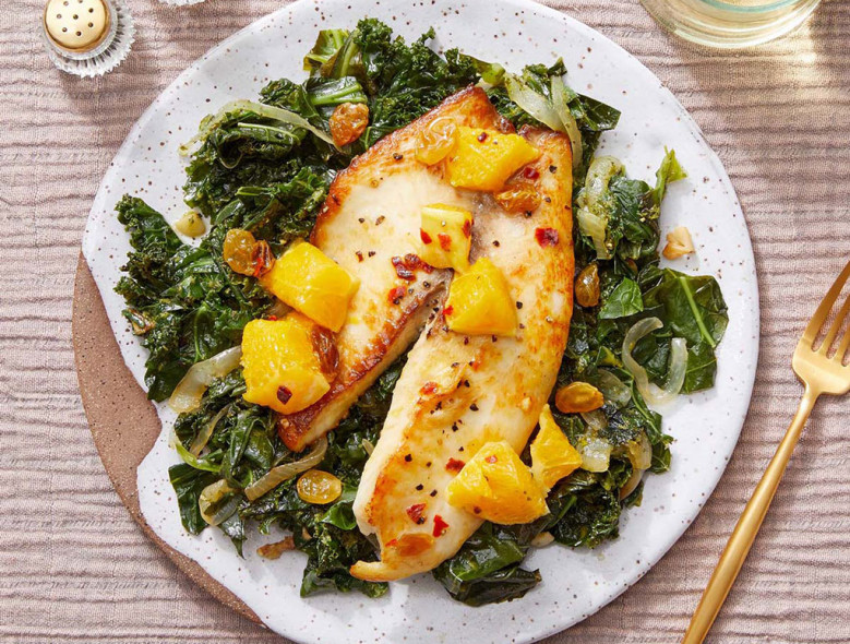Orange Glazed Tilapia with Cilantro Kale & Collard Greens