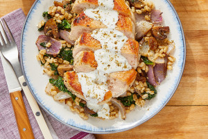 Seared Pork Chops & Cucumber Yogurt with Za'atar Vegetable Barley