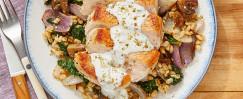 Seared Pork Chops & Cucumber Yogurt with Za'atar Vegetable Barley