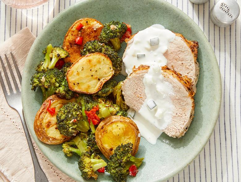 Greek-Style Pork Roast & Tzatziki with Lemon-Garlic Vegetables