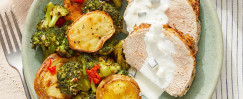 Greek-Style Pork Roast & Tzatziki with Lemon-Garlic Vegetables