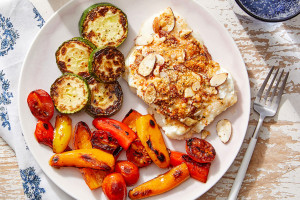 Parmesan-Almond Baked Cod with Sautéed Vegetables