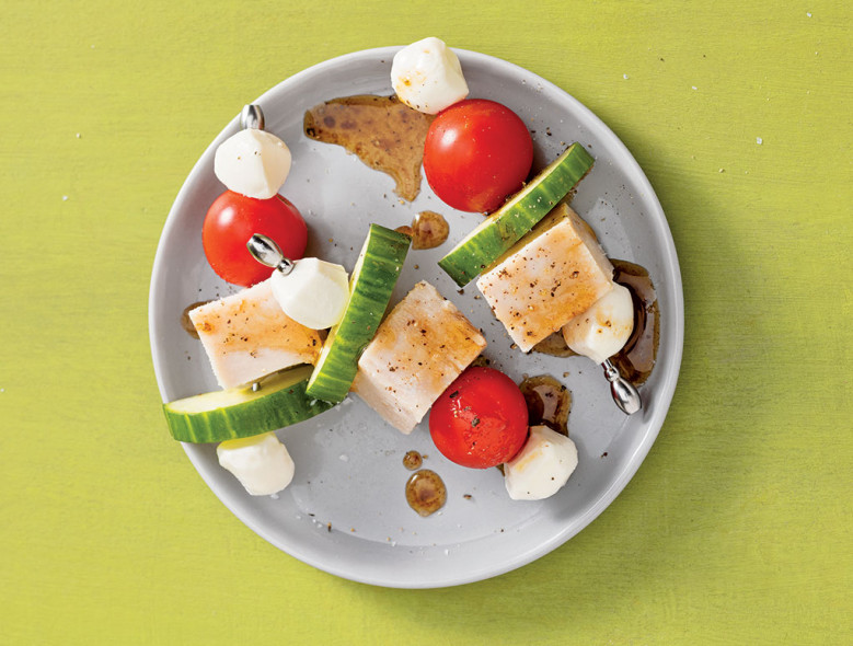 Turkey and Mozzarella Snack Skewers