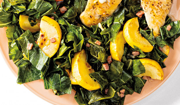 Collard Greens with Yellow Squash