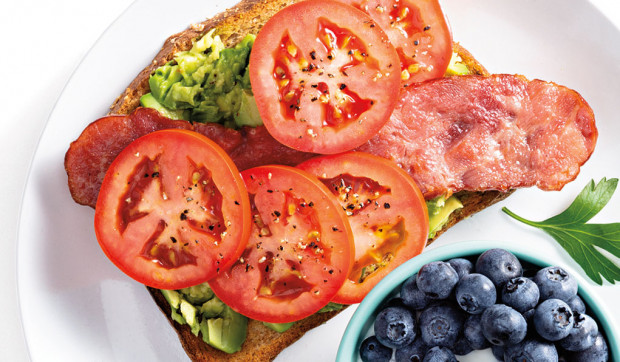 Avocado Toast with Turkey Bacon and Tomato