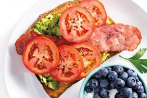 Avocado Toast with Turkey Bacon and Tomato