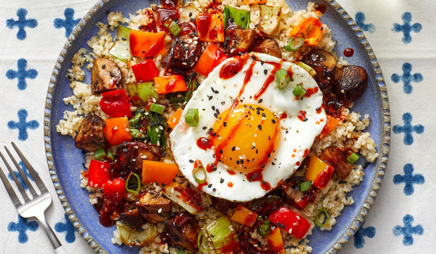 Stir-Fried Vegetables & Freekeh with Eggs & Gochujang Honey Drizzle