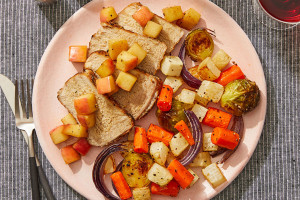 Spiced Pork & Glazed Apple with Roasted Vegetables